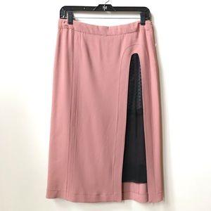 MARC JACOBS Skirt w/ slits & polka dot mesh lining
